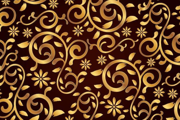 Gouden sier bloemenachtergrond
