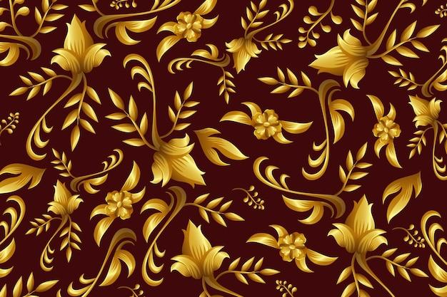 Gouden sier bloemenbehangconcept