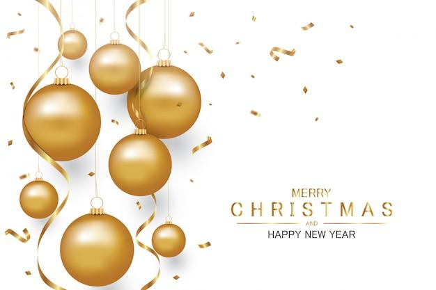 Gouden sieraad kerstbal en gouden confetti, vakantie kerstmis en gelukkig nieuwjaar achtergrond