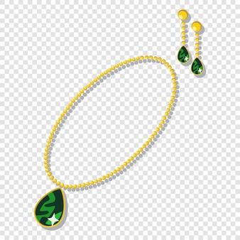 Gouden sieraden accessoires: kettingen en oorbellen met groene edelstenen.