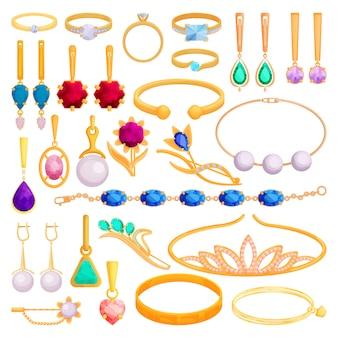 Gouden sieraden cartoon set pictogram