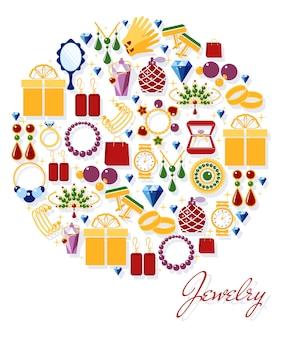 Gouden sieraden symbool. oorbellen en horloge, ring en ketting, hangers en manchetknopen. vector illustratie