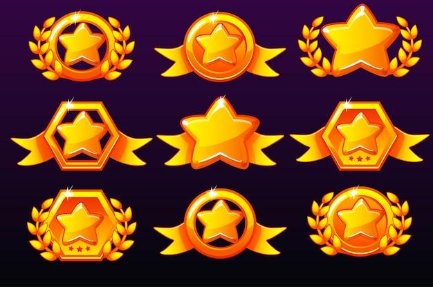 Gouden sjablonen sterpictogrammen voor onderscheidingen, pictogrammen maken voor mobiele games.