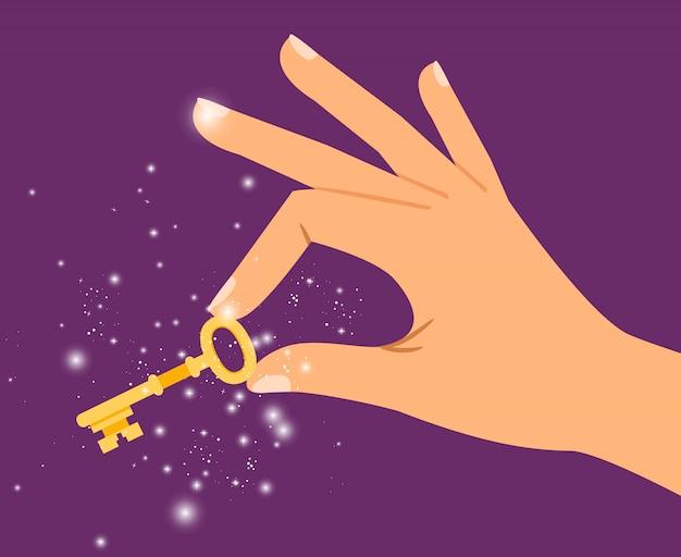 Gouden sleutel in de hand