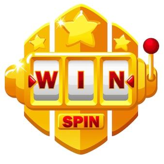 Gouden slotmachine en knop spin, win belettering met sterren voor ui-spel. illustratie van een gokken.