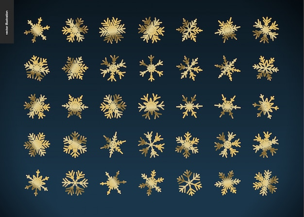 Gouden sneeuwvlokken icoon collectie