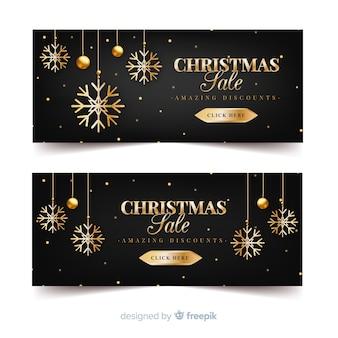 Gouden sneeuwvlokken kerstmis verkoop banner