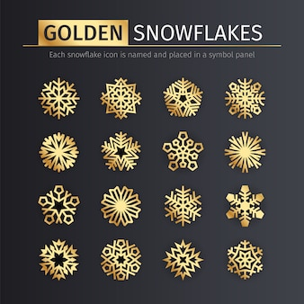 Gouden sneeuwvlokken pictogrammen instellen