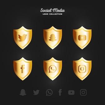 Gouden sociale media logotype collectie