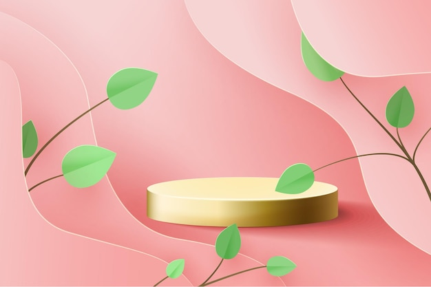 Gouden sokkel op roze. trendpodium 3d op golven uit papier gesneden, met papieren tak met bladeren.