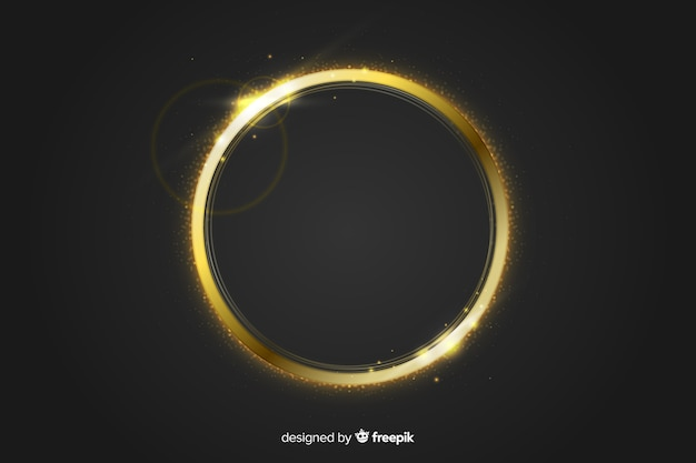 Gouden sprankelend frame op zwarte achtergrond