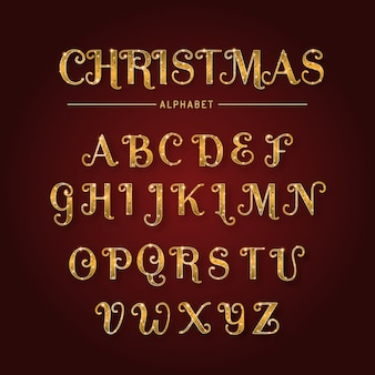 Gouden sprankelend kerstalfabet
