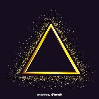 Gouden sprankelende driehoek frame achtergrond