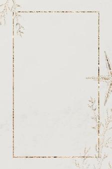 Gouden sprankelende koraal frame ontwerp vector