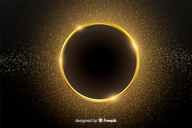 Gouden sprankelende ronde frame achtergrond