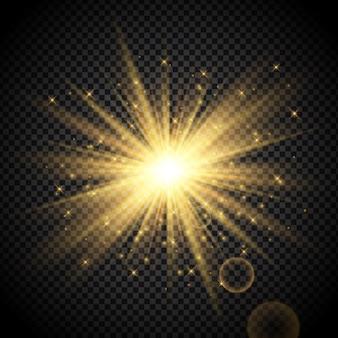 Gouden starburst op transparante achtergrond Gratis Vector