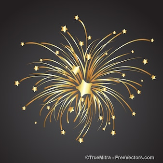 Gouden ster explodeert in kleinere