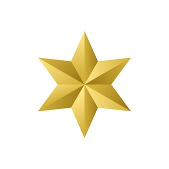 Gouden ster geïsoleerd op witte achtergrond