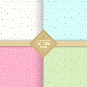 Gouden ster glitter naadloos patroon op pastel achtergrond.