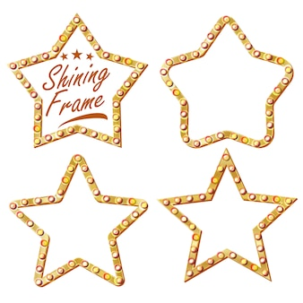 Gouden ster ingesteld vector. vintage glanslamp star frame. 3d gloeiend reclamebord. vintage verlicht neonlicht. carnaval, circus, casinostijl. geïsoleerde illustratie