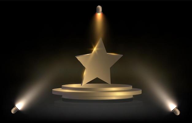 Gouden ster op gouden podiumsjabloon