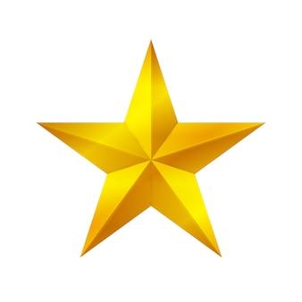 Gouden stervorm die op witte achtergrond, gouden sterpictogram, gouden sterembleem wordt geïsoleerd