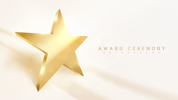 Gouden stervormige, lichte fonkeling luxe effect achtergrond, prijsuitreiking scène concept. vectorillustratie.