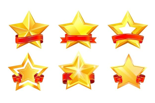 Gouden sterwinnaar award medaille met rood gekruld lint set. succes en prestatie certificaat decoratief embleem of garantie goedkeuring glanzende label vectorillustratie geïsoleerd op een witte achtergrond