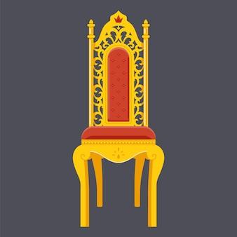 Gouden stoel. majestueuze troon.