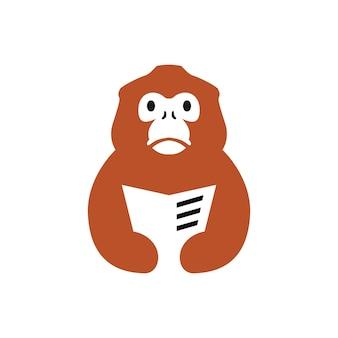 Gouden stompe neus aap boek lezen krant negatieve ruimte logo vector pictogram illustratie