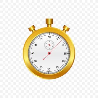 Gouden stopwatch. oude mechanische chronometer. illustratie.