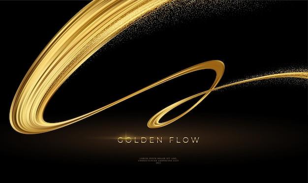 Gouden stroom op zwarte achtergrond