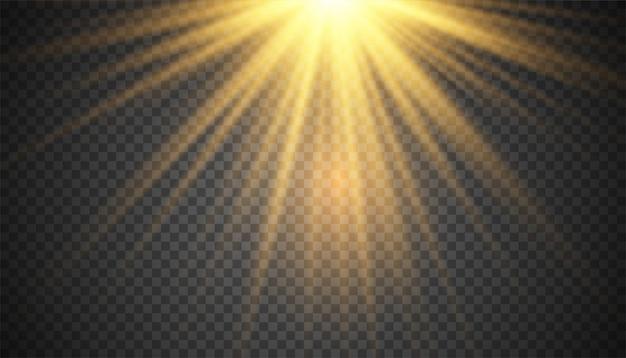 Gouden sunray schittert licht voor achtergrond