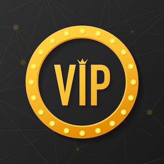 Gouden symbool van exclusiviteit, het label vip met glitter. vip-clublabel op zwart.