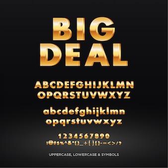 Gouden tekst alfabet kop