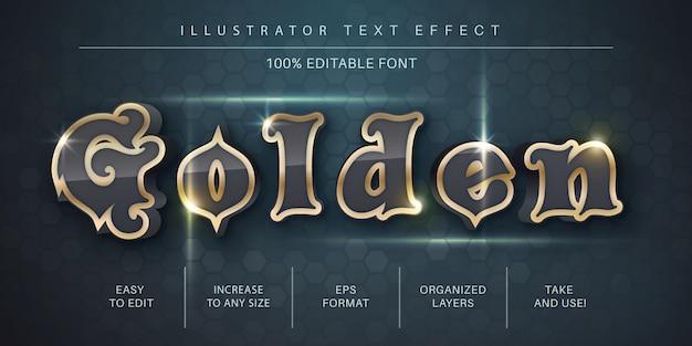Gouden teksteffect, tekenstijl Premium Vector