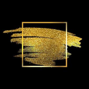 Gouden textuur verf. hand getrokken penseelstreek.