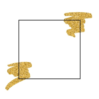 Gouden textuur verf vlek frame illustratie. hand getekende penseelstreek vector ontwerpelement. glanzende abstracte gouden achtergrond voor uw tekst, verkoop, banner, kaarten, labels