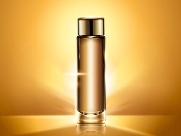 Gouden tonerfles, lege cosmetische container sjabloon voor gebruik, glanzende achtergrond in afbeelding
