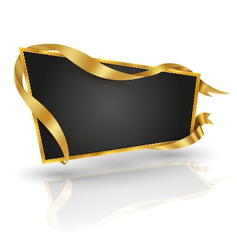 Gouden trapeziumaanplakbord en gouden lint voor informatie en banneraffiche.