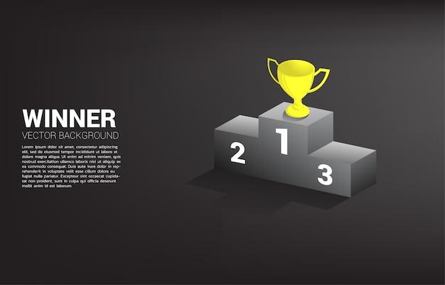 Gouden trofee beker award op eerste plaats podium ranking. winnaar zakelijke overwinning en succes.