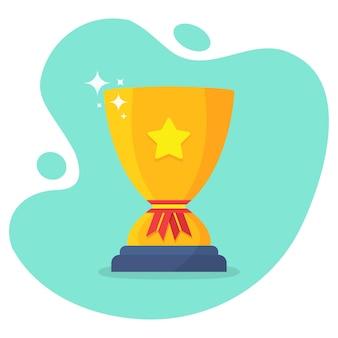Gouden trofee beker met ster in een plat design. prijswinnaars trofee beker met schaduw