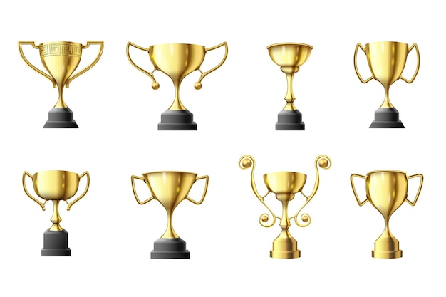 Gouden trofee beker. winnaars trofee, eerste plaats glanzende gouden bekers en win sportprijs illustratie set.