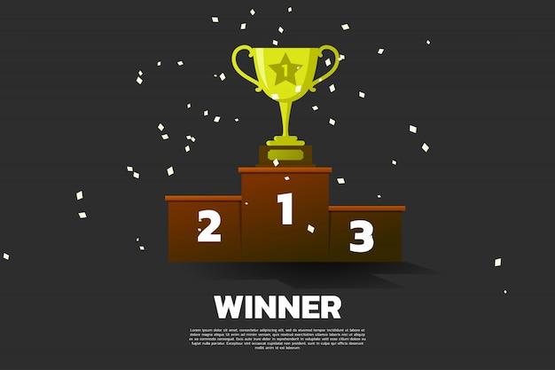 Gouden trofee bekerprijs op podium ranking.