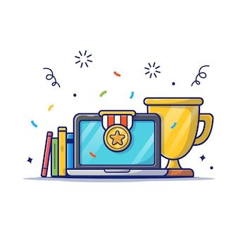 Gouden trofee, boek en laptop pictogram. onderwijs prestatie, beurs pictogram wit geïsoleerd
