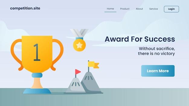 Gouden trofee en gouden medaille als prijs voor succes met slogan zonder opoffering geen succes voor websitesjabloon landing homepage vectorillustratie