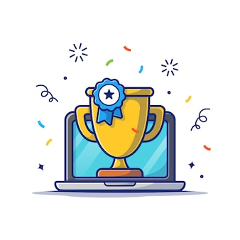 Gouden trofee en laptop pictogram. online beloning, technologie pictogram wit geïsoleerd