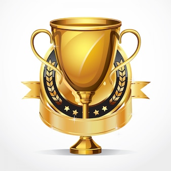 Gouden trofee en medaille.
