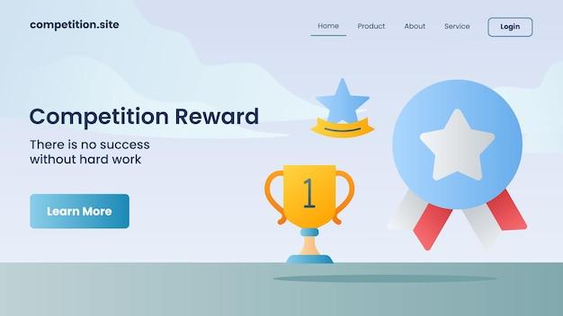 Gouden trofee, medaille, sterpictogram met slogan er is geen succes zonder hard werken voor websitesjabloon landing homepage vectorillustratie
