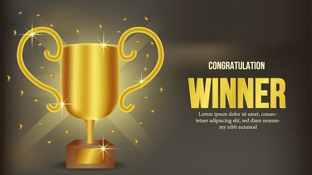 Gouden trofee winnaar aankondiging banner